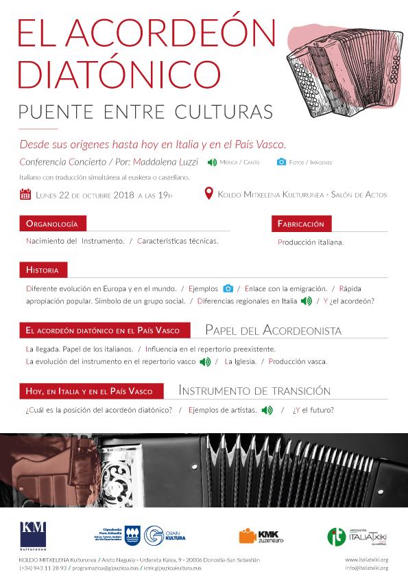 El acordeón Diatónico, puente entre culturas - Soinu Txikiaren zubi-bidea - Asociación ItaliaTxiki Kultur Elkartea - Koldo Mitxelena 22 octubre 2018